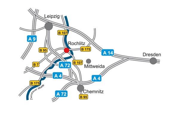 Lage der Großen Kreisstadt Rochlitz